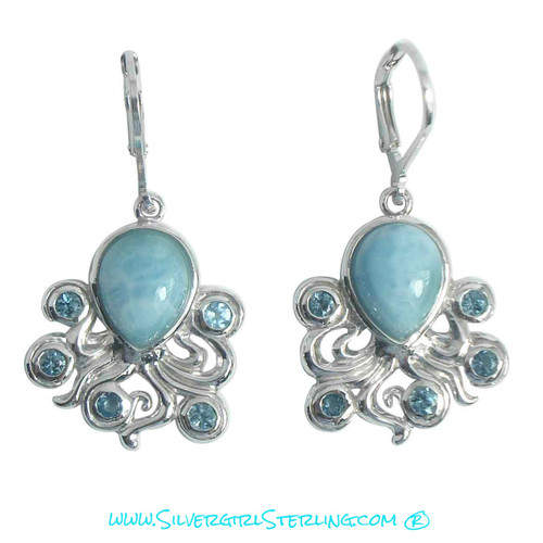 Larimar Octopus Lever Back Earrings  |  Sterling Silver Larimar Jewelry