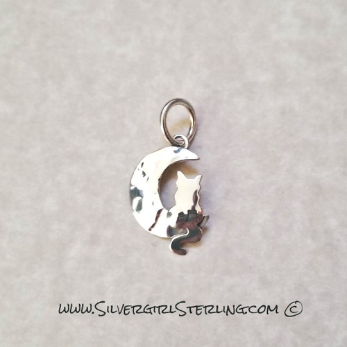 Cat on a Silver Moon Pendant - Hammered  | Sterling Silver Animal & Pet Jewelry