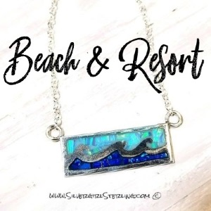 Opal Ocean Wave necklace with two colors of blue Mexican opal | Sterling Silver Beach and Sea Life Jewelry