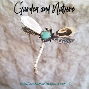 Detailed turquoise and sterling dragonfly pendant | Sterling Silver Beach and Sea Life Jewelry