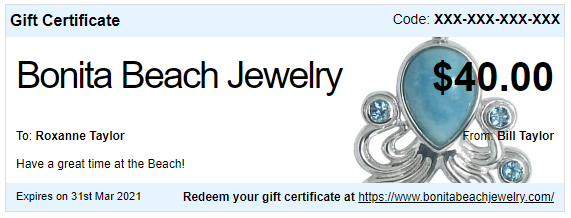 $40 Gift Certificate with FREE Anklet | Bonita Beach Jewelry