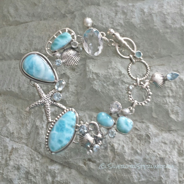 Ocean Gems Larimar Bracelet | Sterling Silver Beach and Sea Life Jewelry