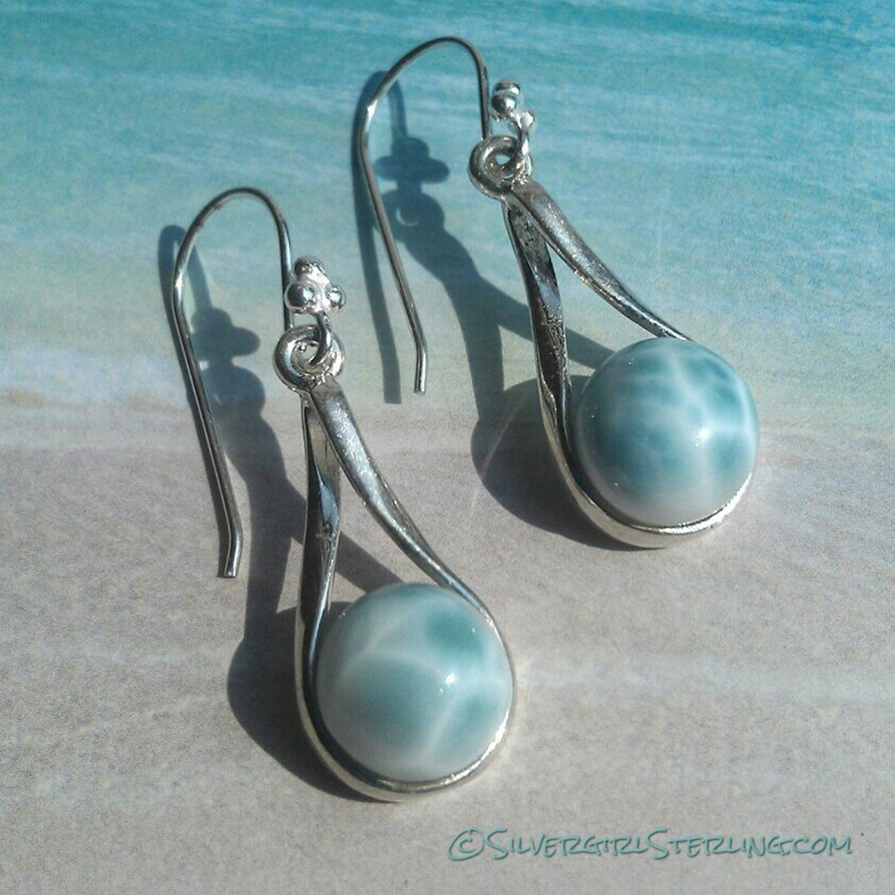 Island Girl Larimar Earrings | Sterling Silver Beach and Sea Life Jewelry