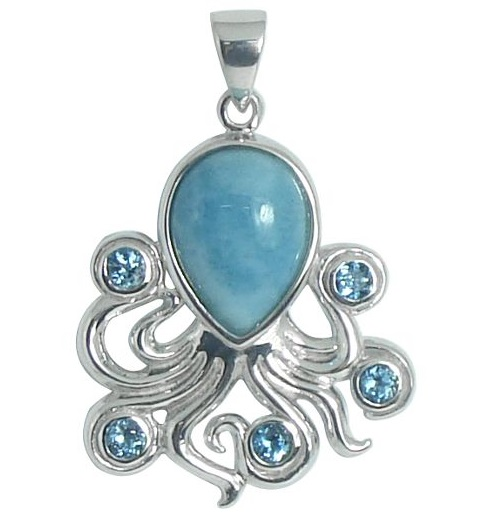 Larimar and Blue Topaz Octopus Pendant | Bonita Beach Sterling Silver Beach and Sea Life Jewelry