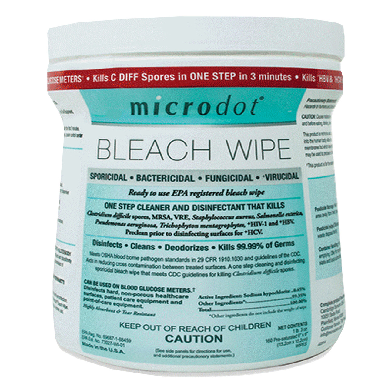 MicroDot® Bleach Wipes-Pack of 160