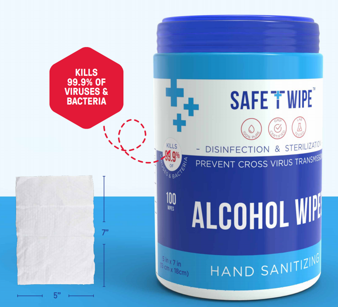 Safe T Wipes (Pack of 100 Wipes) (SWT24100)