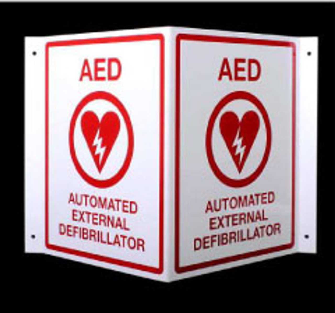 "AED Locator Sign ""V"" Shaped"
