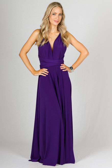 Multi Way Wrap Maxi Dress - Purple