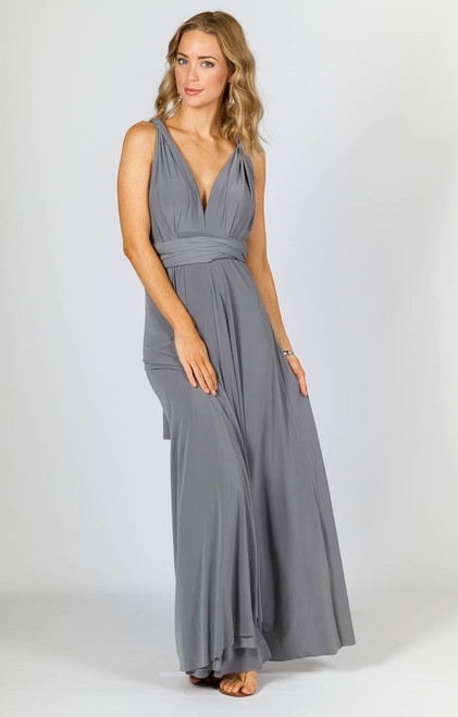 Multi Way Wrap Maxi Dress - Pewter