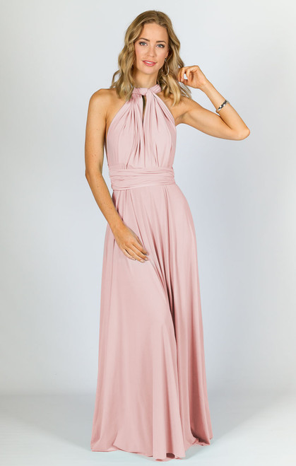 Multi Way Wrap Maxi Dress - Baby Pink