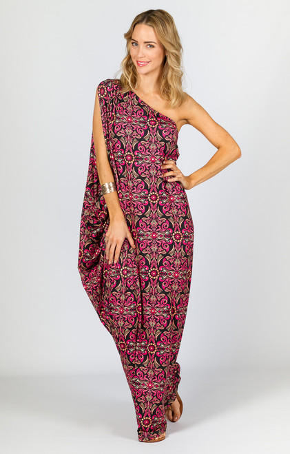 One Shoulder Long Maxi Dress - Pink Print