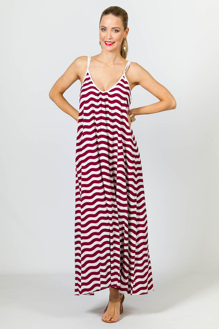 Rio Maxi Dress - Maroon Chevron