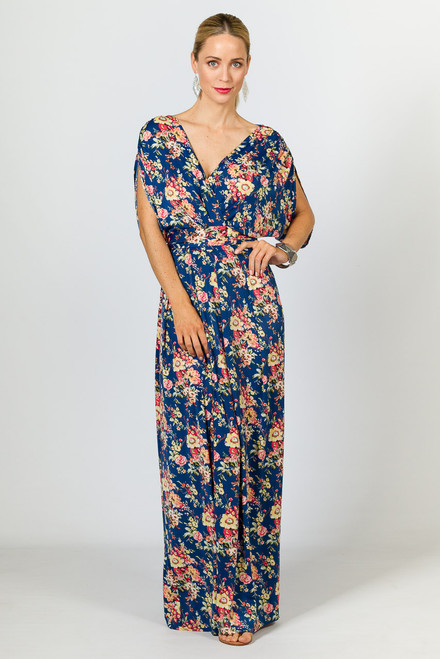 Batwing Style Maxi Dress - Blue Floral