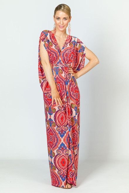 Kaftan Style Maxi Dress - Red Graphic / RE-STOCKED
