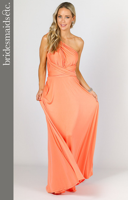 Bridesmaids Etc. Multi Way Wrap Maxi - Peach
