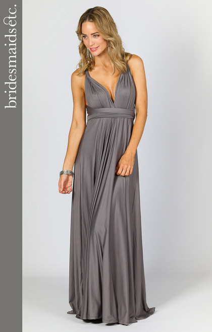 Bridesmaids Etc. Multi Way Wrap Maxi - Pewter