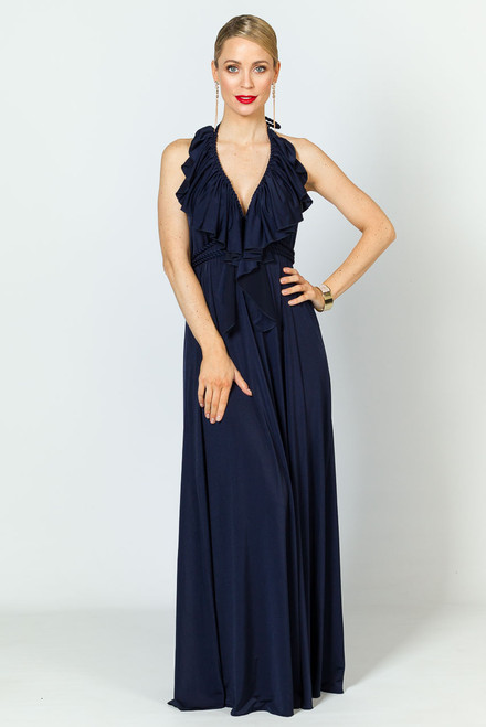 Low Back Ruffle Luxe Maxi Dress - Navy