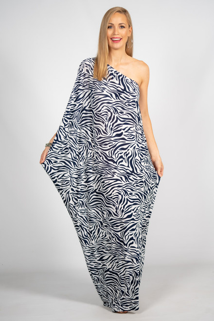 One Shoulder Long Maxi Dress - Navy Zebra