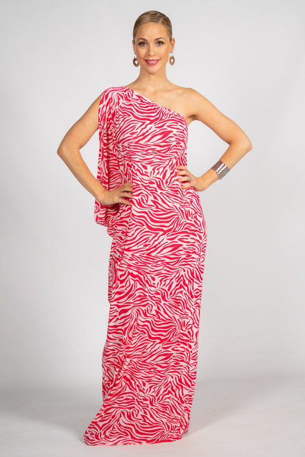 One Shoulder Long Maxi  Dress - Pink Zebra