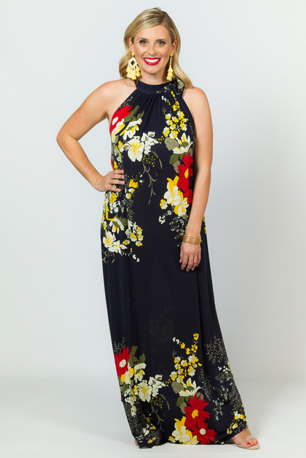 Tie Neck Maxi Dress - Navy Floral