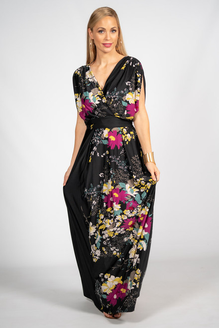 Batwing Style Maxi Dress - Black Floral