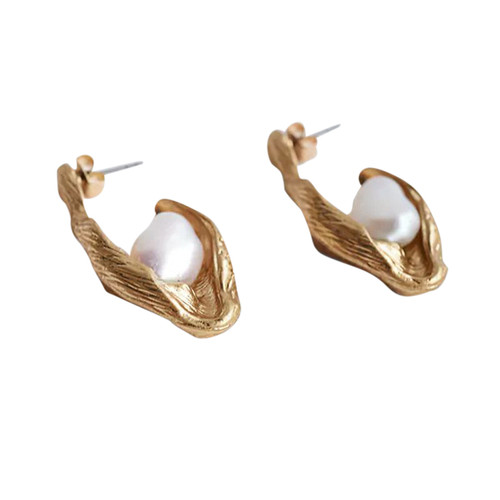 Abstract Pearl Earrings