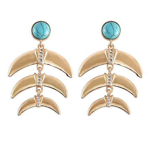Turquoise Crescent Earrings