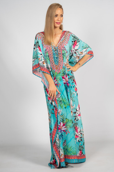 Willow Embellished Kaftan - Tie Front