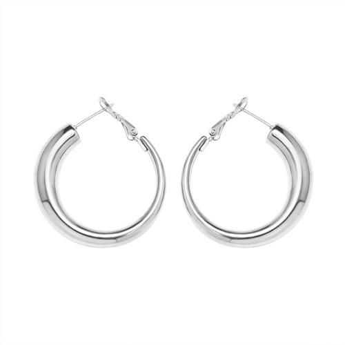 Thick Silver Hoops