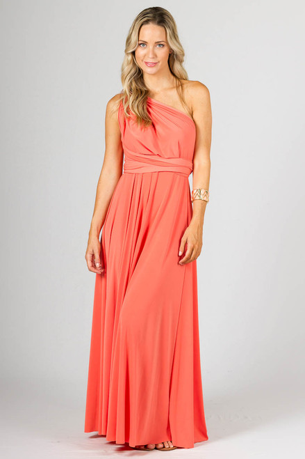 Multi Way Wrap Maxi Dress - Coral