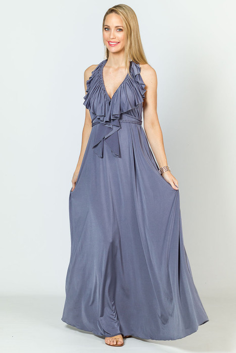 Low Back Ruffle Luxe Maxi Dress - Steel