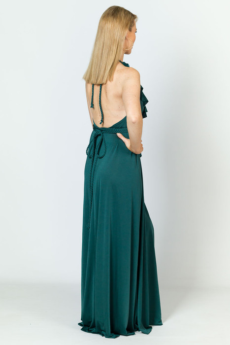 Low Back Ruffle Luxe Maxi Dress - Forest