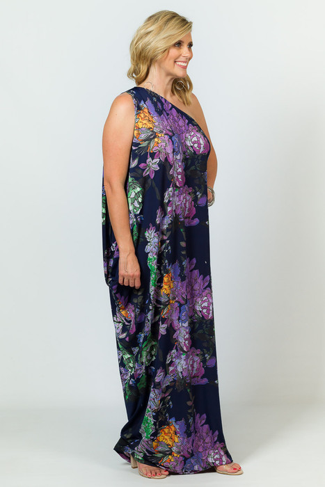 One Shoulder Long Maxi Dress - Purple Floral