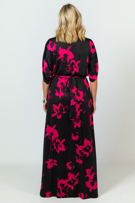 Batwing Style Maxi Dress - Hibiscus