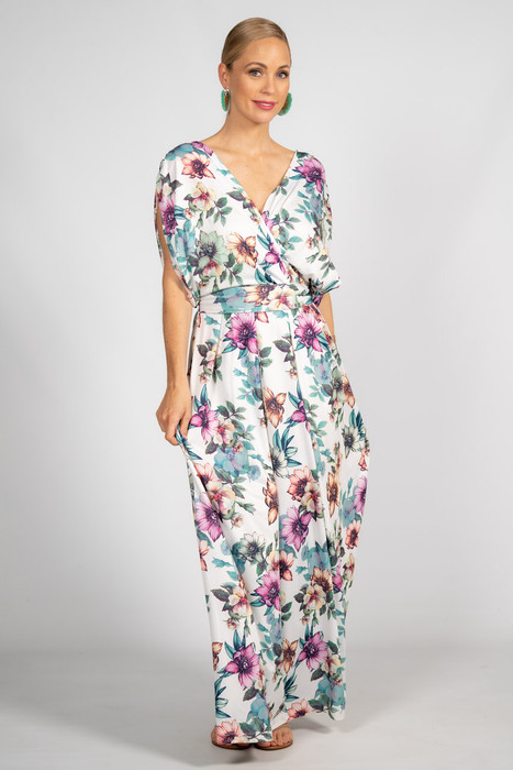 Batwing Style Maxi Dress - White Floral