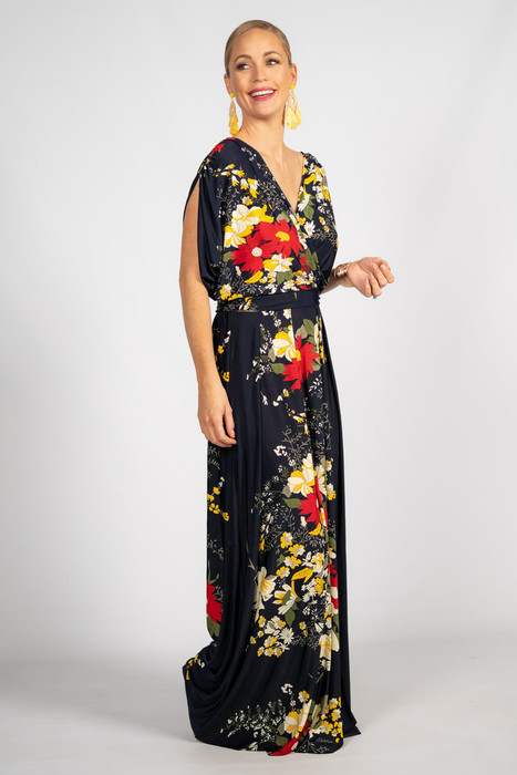 Batwing Style Maxi Dress - Navy Floral