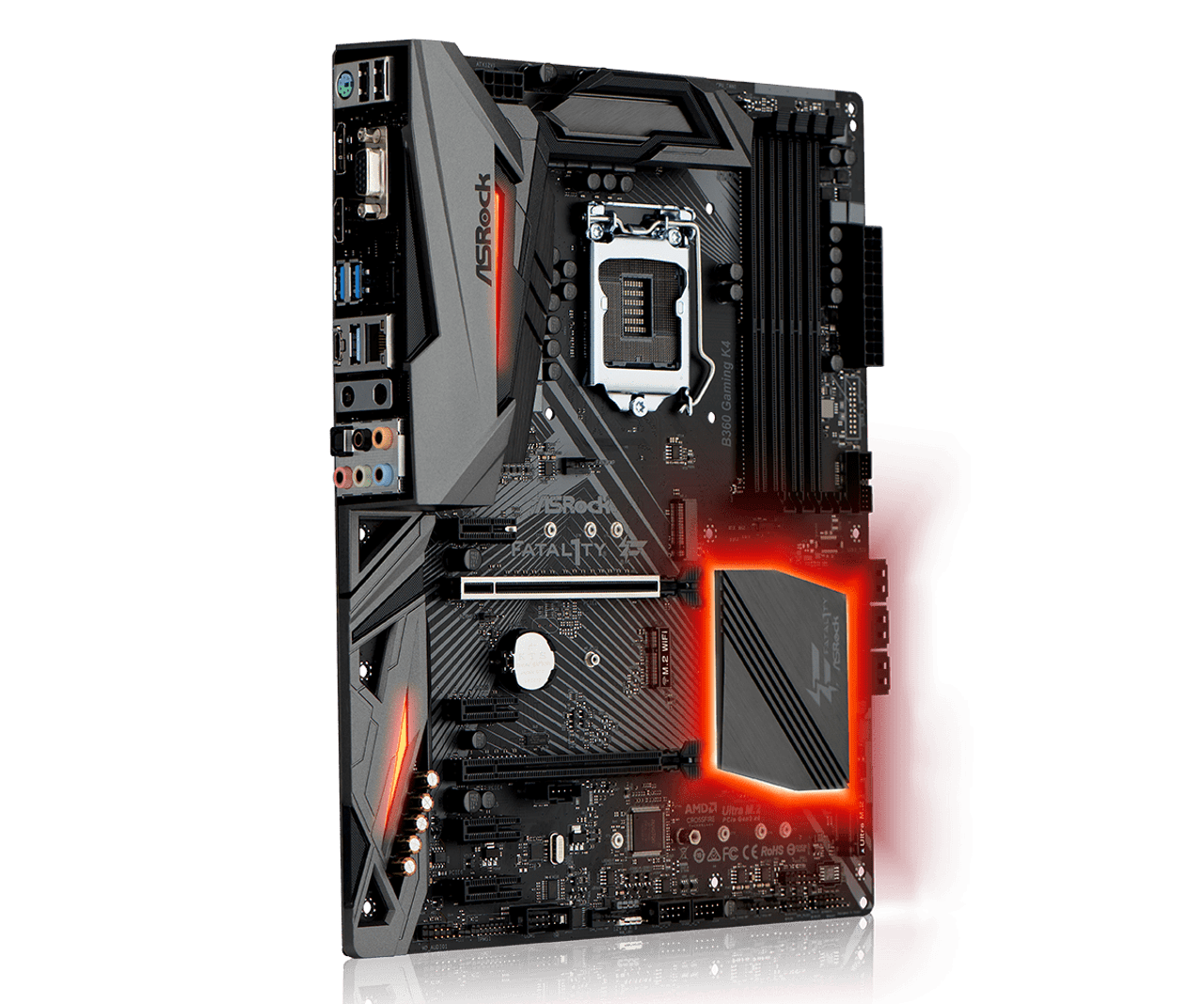 ASRock Fatal1ty B360 Gaming K4, ATX, PCIe x16, CFX, M 2 (2 SSD, 1 WiFi Key  E), HDMI, DP, D-Sub, USB 3 1, Intel I219V, Thunderbolt 3, 3 yrs wrty
