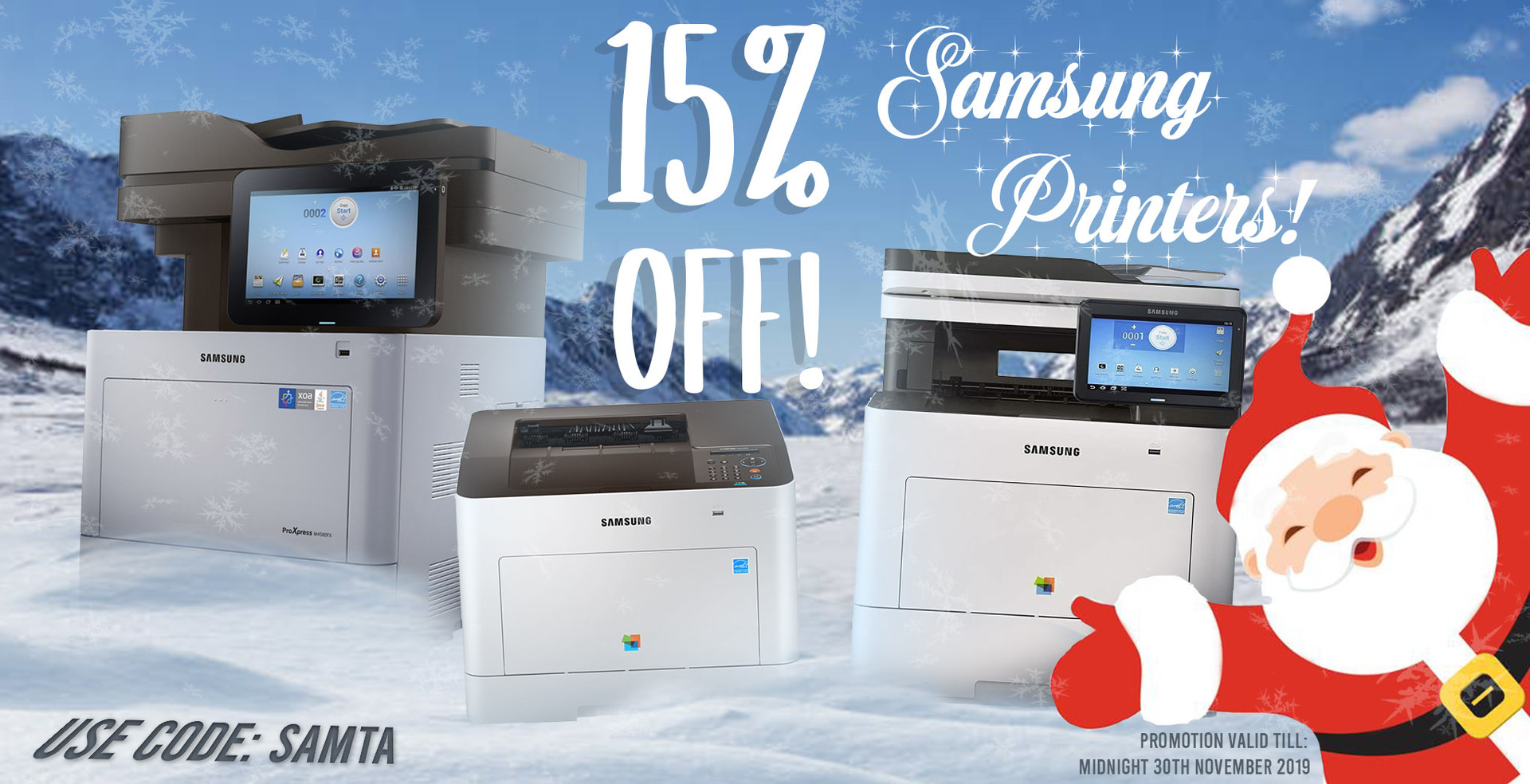 15% Off Samsung Printers using code SAMTA