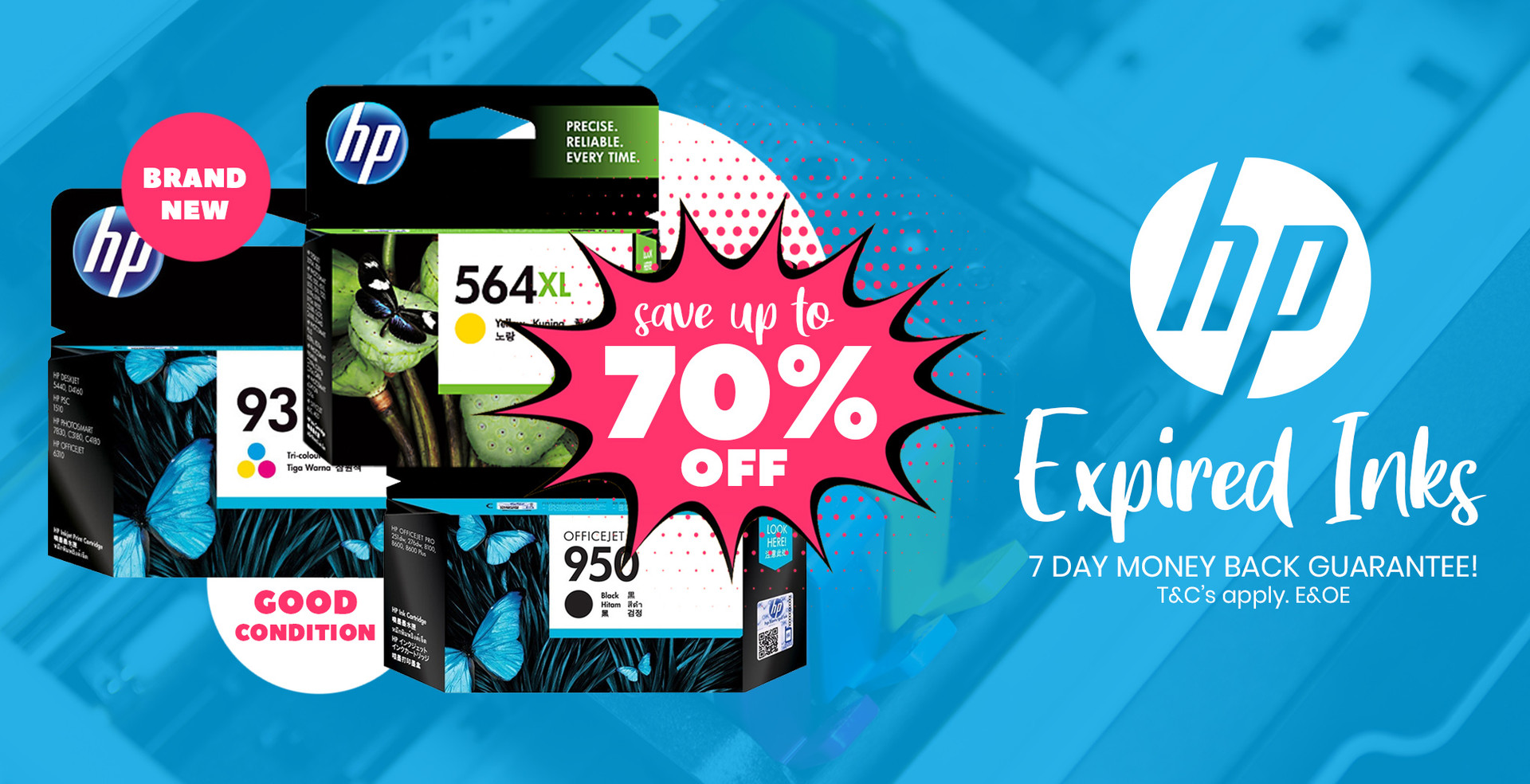 Save up to 70% on Expired HP Inks with 7 Day Money Back!