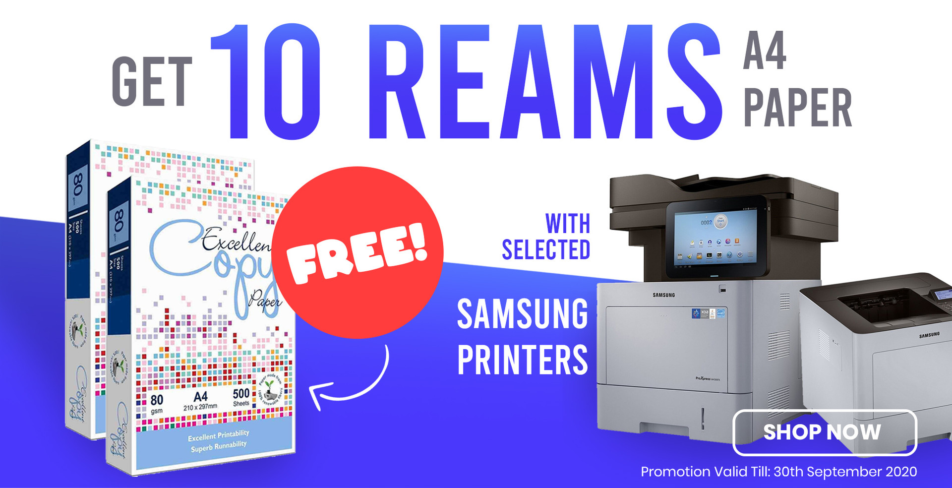 Get 10 Reams of A4 Paper with Selected Samsung Printers
