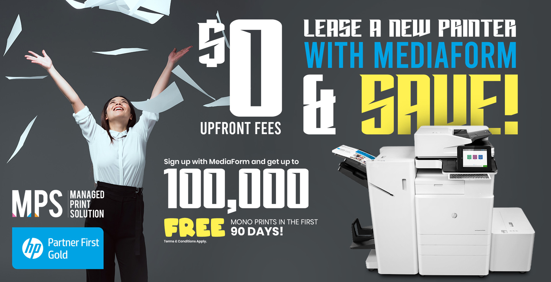 $0 Upfront MPS with MediaForm + 100,000 Free Mono Prints