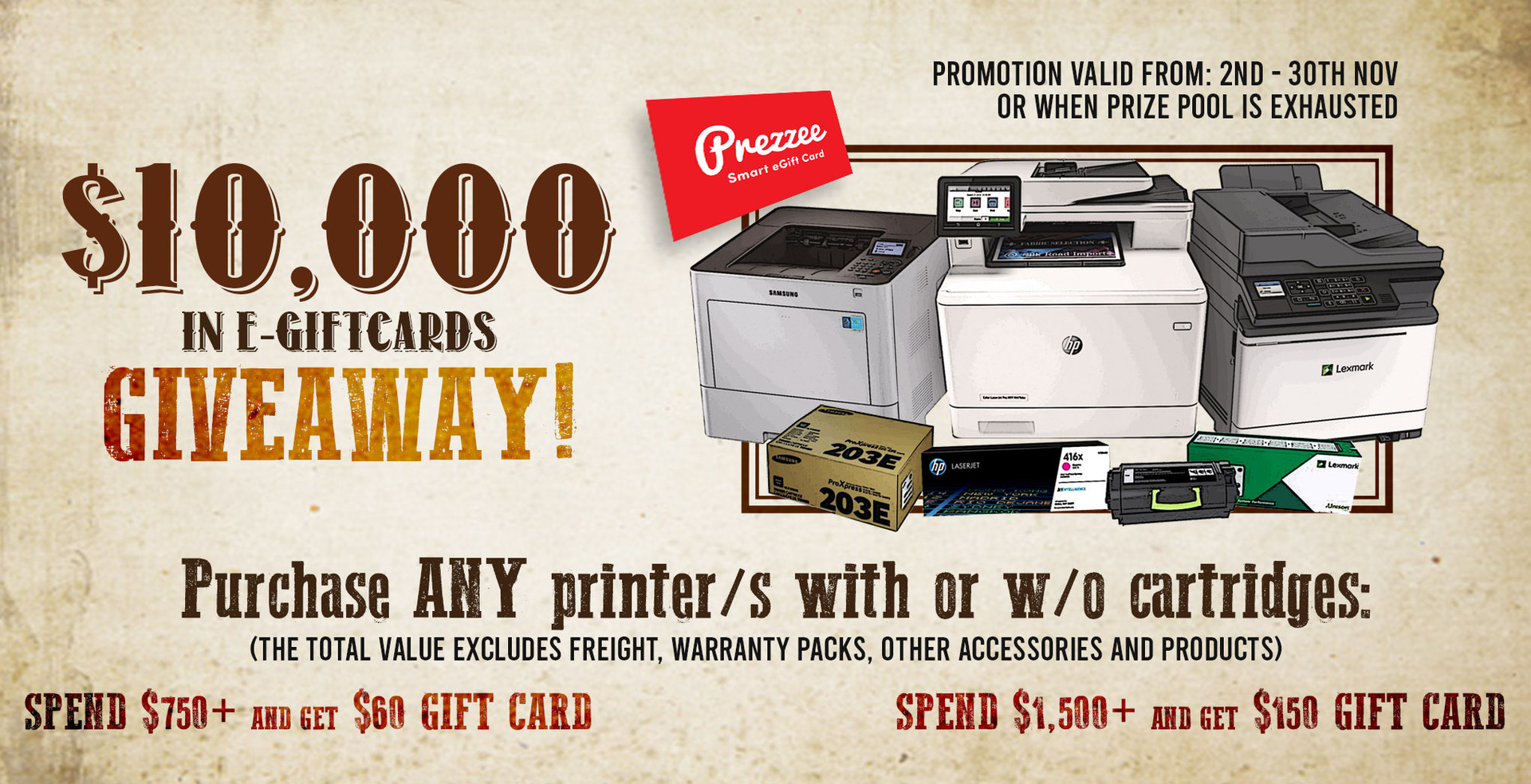$10,000 in E-Gift Cards Giveaway: Printer & Cartridges