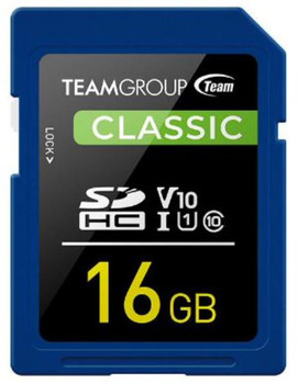 Team Classic SD Memory Card -16 GB  UHS (Ultra) Speed Class 1(U1). Supports Video Speed Class 10(V10).