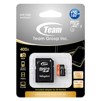 Team Group Memory Card microSDXC 128GB, UHS-I, 20MB/s Write*, with SD Adapter, Lifetime Warranty