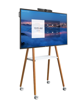 """Commbox Mobile Easel W/ Rack, Tilt Angle of up to 12 Degrees, for up to 65"""", White"""