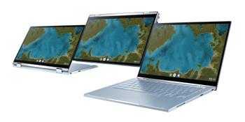 """CHROMEBOOK FLIP, M3-8100Y, CHROME OS with ZTE, 14.0"""" FHD Touch, 8GB DDR3, 64G eMMC, HD CAM, 1 x USB 3.2, 1 x USB-C, SILVER, 1 YR PUR"""