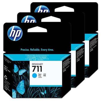 HP 711 3 Pack 29ml Cyan Ink Cartridge (CZ134A)