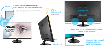 """ASUS VC279H Ultra-low Blue Light Monitor - 27"""" FHD (1920x1080), IPS, Flicker free, 5ms, 3Yrs Wty"""