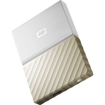 WD My Passport Ultra 1TB USB 3.0 Portable Storage with Metal Finish - White/Gold