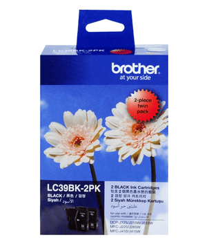 BROTHER LC39 BLACK TWIN INK 2X 300 PAGE YIELD FOR 315, 515, 265, 410 & 416